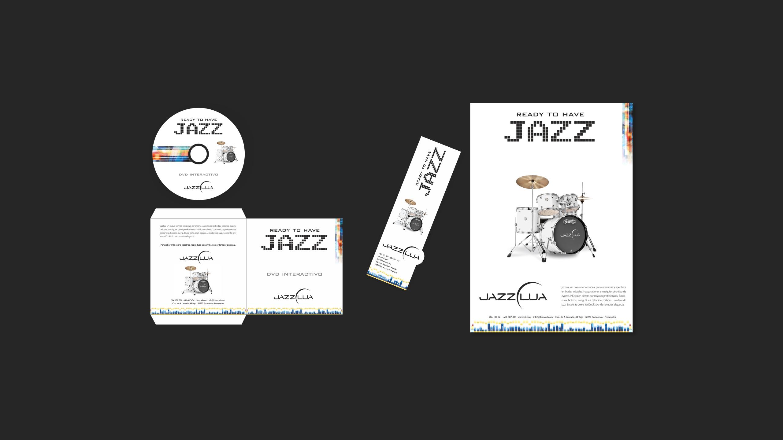 Diseño Dismovil Jazzlua material promocional
