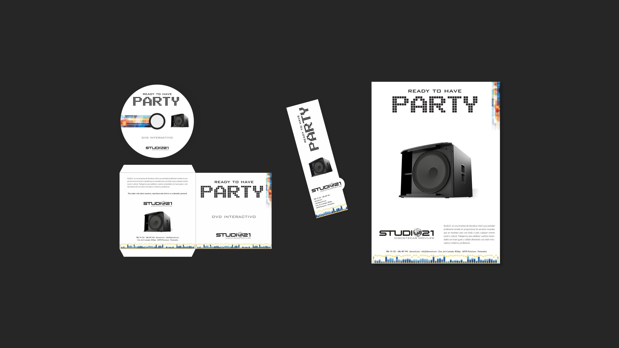 Diseño Dismovil Studio 21 material promocional