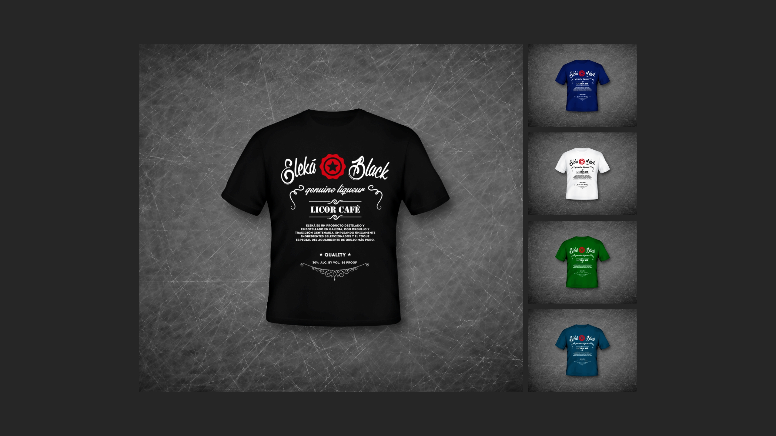 Diseño Eleka licor cafe merchandising t shirts