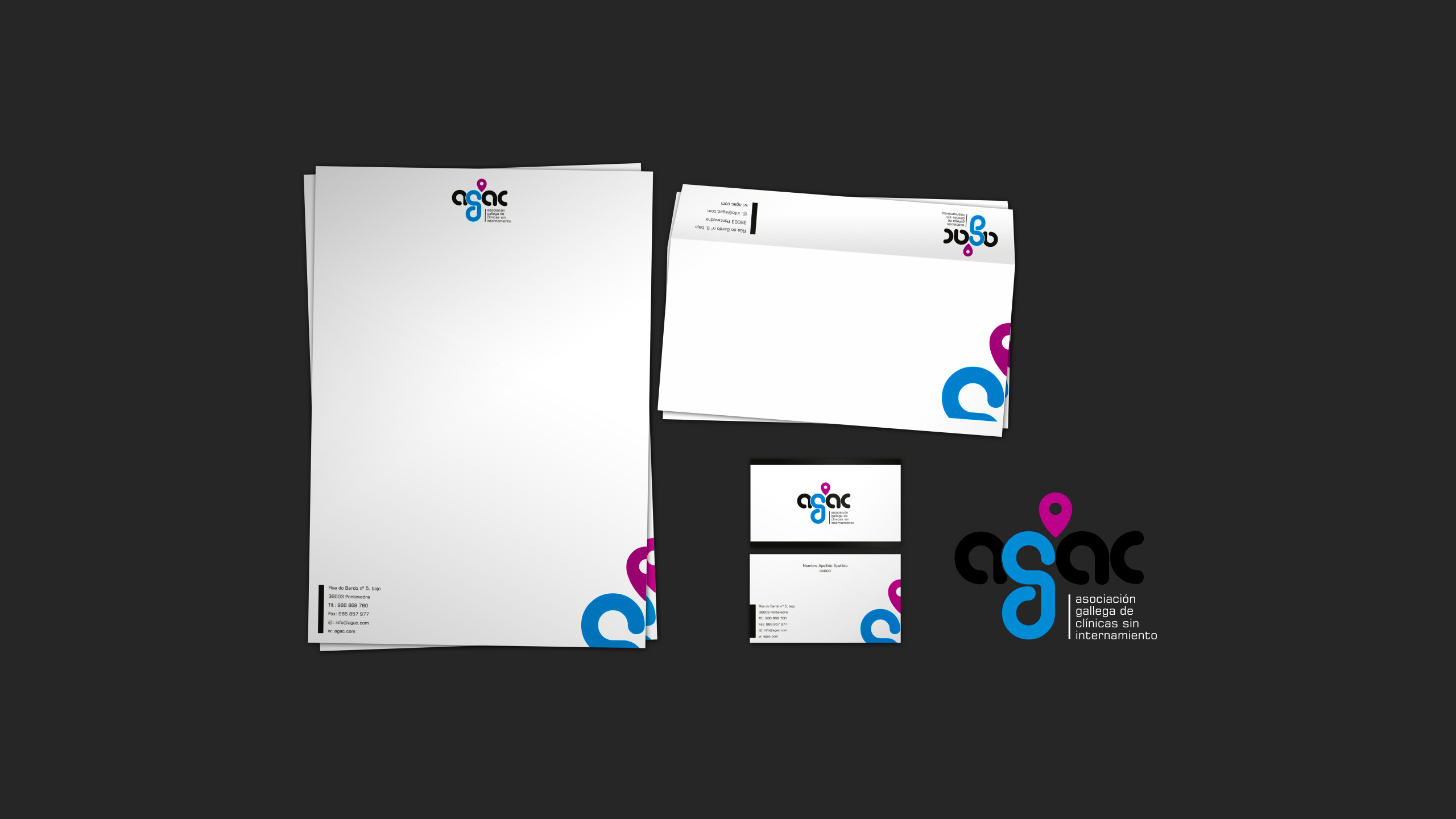 Diseño agac logotipo y papeleria